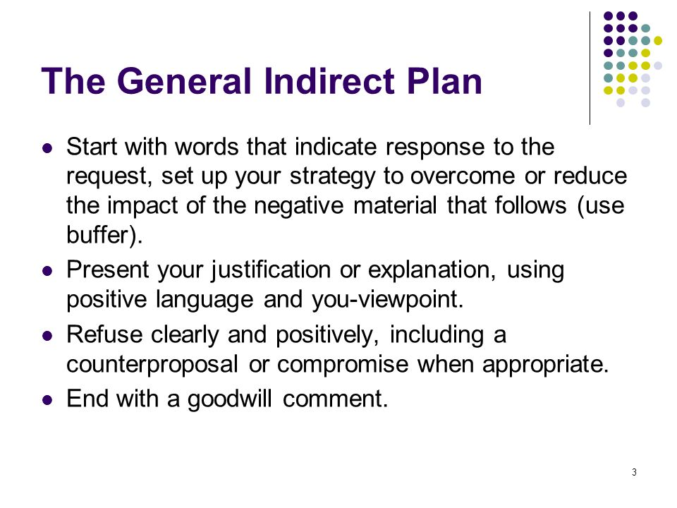 3 The General Indirect Plan Start with words that indicate response to the request, set up your strategy to overcome or reduce the impact of the negat