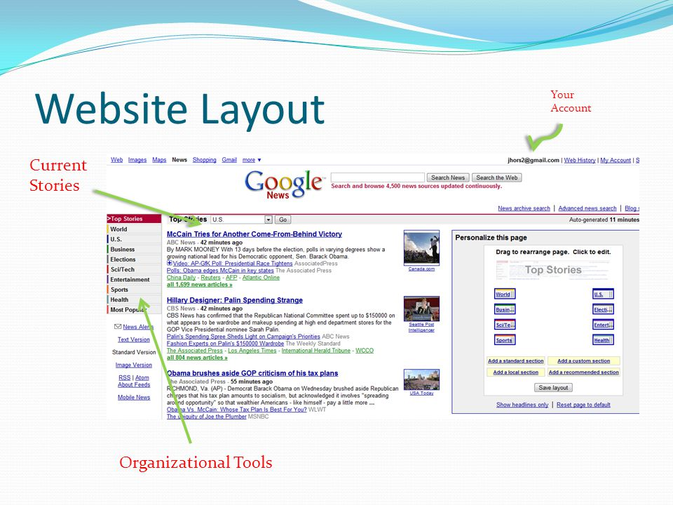 Website Layout Your Account Current Stories Organizational Tools