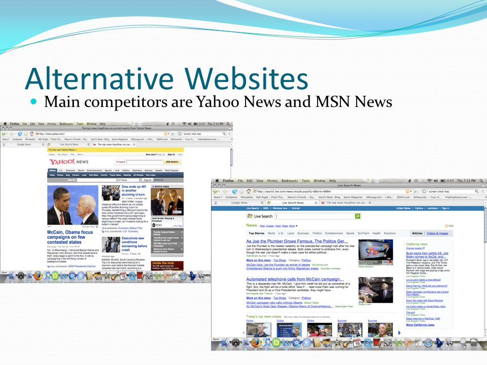 Alternative Websites Main competitors are Yahoo News and MSN News