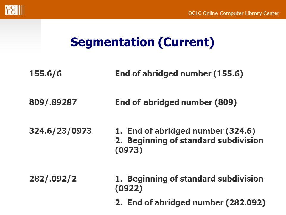 OCLC Online Computer Library Center Segmentation (Current) 155.6/6End of abridged number (155.6) 809/.89287End of abridged number (809) 324.6/23/09731