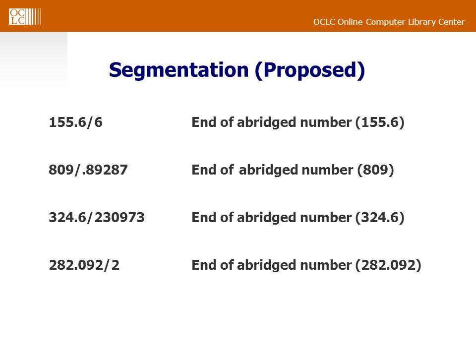 OCLC Online Computer Library Center Segmentation (Proposed) 155.6/6End of abridged number (155.6) 809/.89287End of abridged number (809) 324.6/230973E