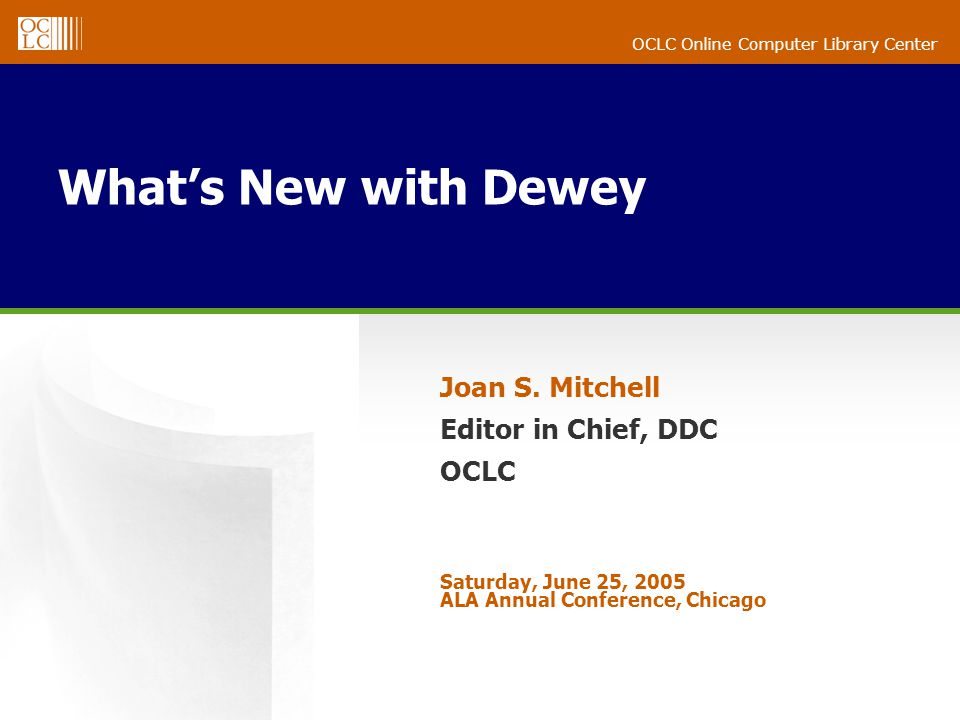 OCLC Online Computer Library Center Whats New with Dewey Joan S.