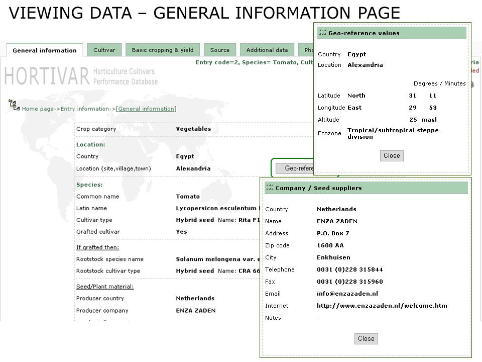 VIEWING DATA – GENERAL INFORMATION PAGE