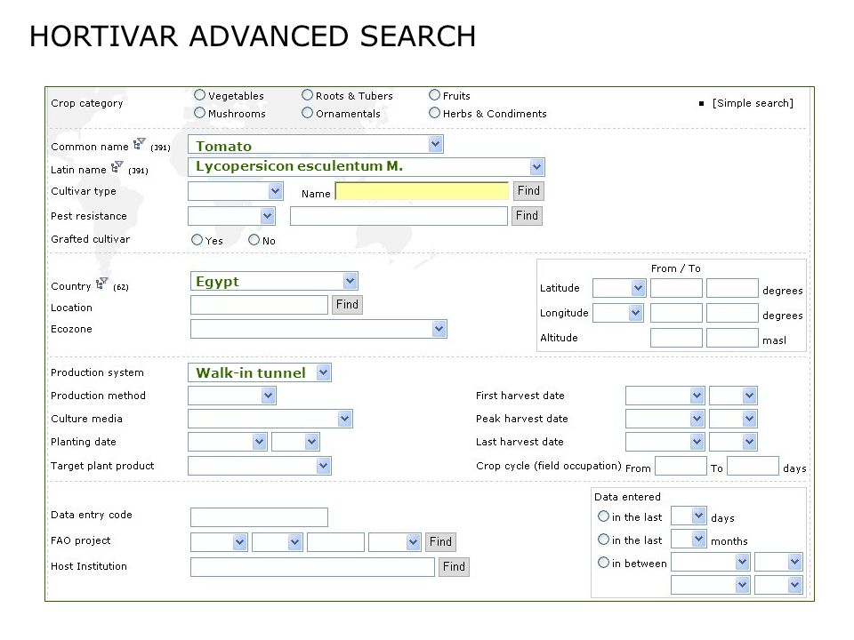 http://www.fao.org/hortivar Search for information Enter new data Advanced search Update existing data Version 3.6 - January 2007 available in: English, French, Portuguese and Spanish Database statistics Hortivar maps Download documentation Hortivar partnership News and resources Photo gallery IPP Card System Good morning Hortivar Read more...