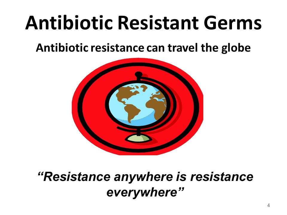 Antibiotic Resistant Germs Antibiotic resistance can travel the globe 4 Resistance anywhere is resistance everywhere