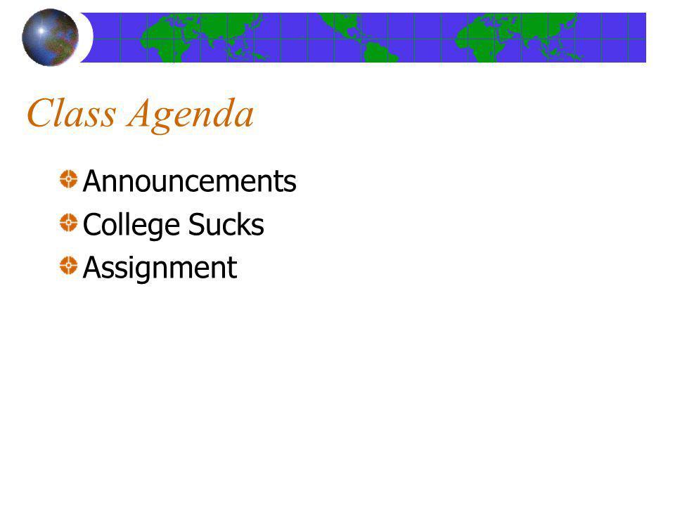 Class Agenda Announcements College Sucks Assignment