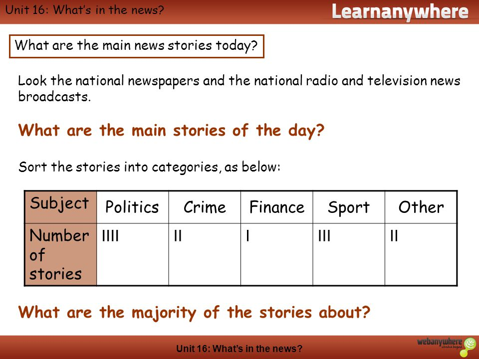 Geography Unit 16: Whats in the news? Look the national newspapers and the national radio and television news broadcasts. What are the main stories of