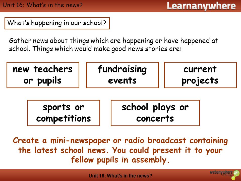 Geography Unit 16: Whats in the news? Whats happening in our school? Gather news about things which are happening or have happened at school. Things w