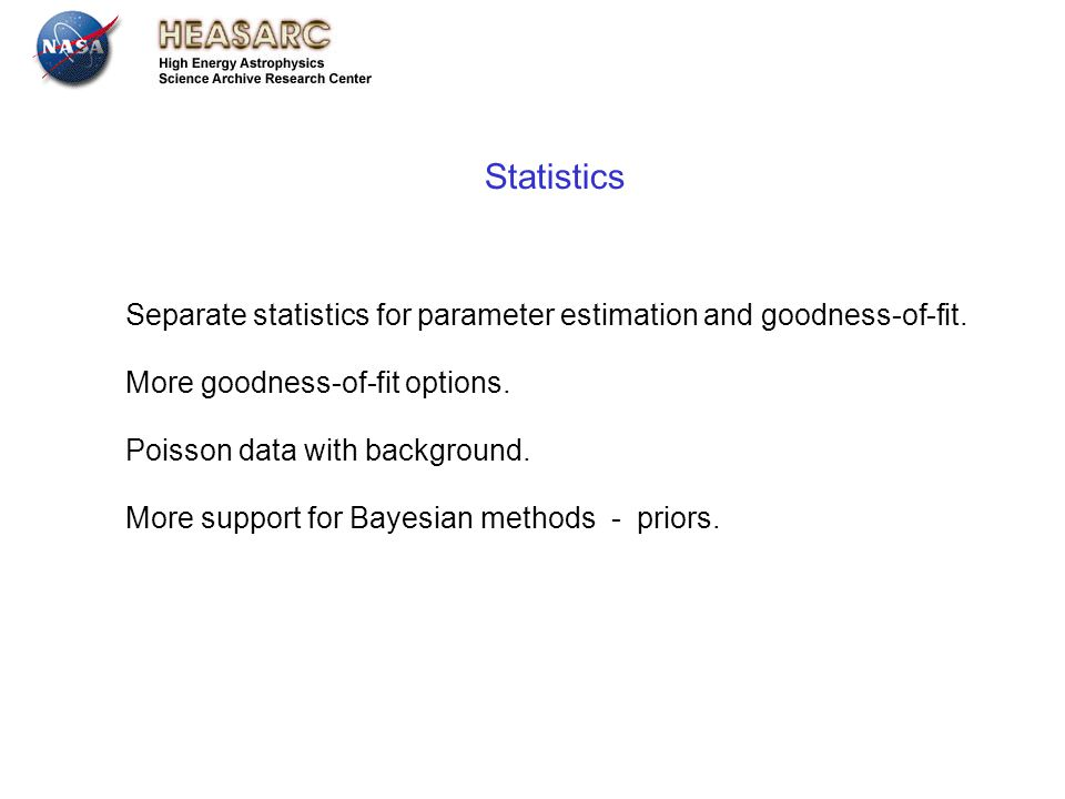 July 13th 2012 Leicester Separate statistics for parameter estimation and goodness-of-fit.