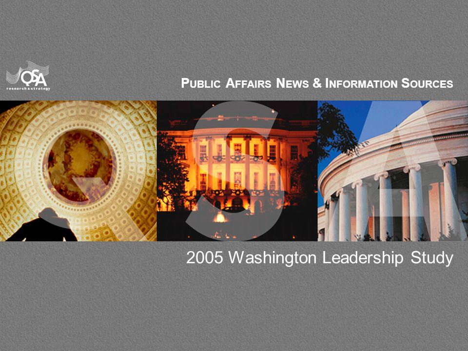 1 P UBLIC A FFAIRS N EWS & I NFORMATION S OURCES 2005 Washington Leadership Study