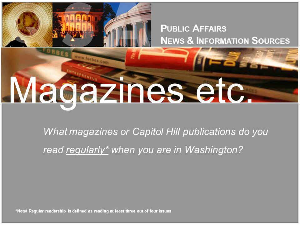 What magazines or Capitol Hill publications do you read regularly* when you are in Washington.