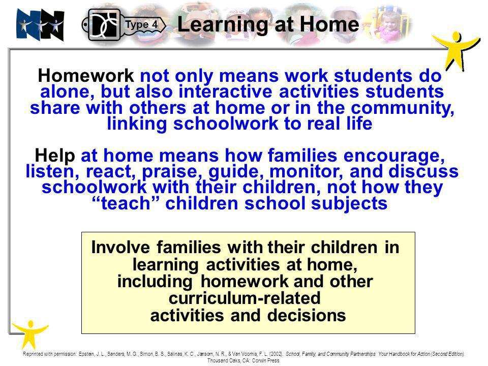 Homework not only means work students do alone, but also interactive activities students share with others at home or in the community, linking school