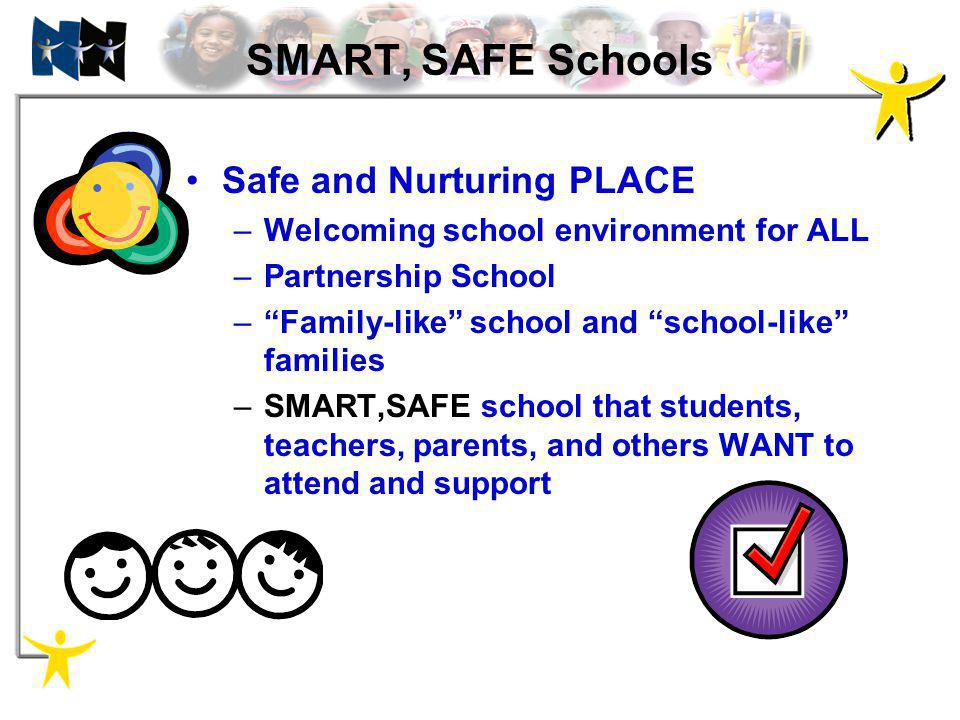 SMART, SAFE Schools Safe and Nurturing PLACE –Welcoming school environment for ALL –Partnership School –Family-like school and school-like families –S