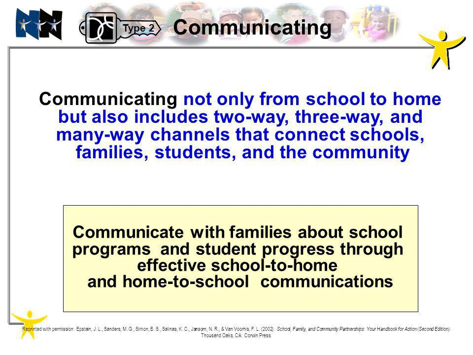 Communicating not only from school to home but also includes two-way, three-way, and many-way channels that connect schools, families, students, and t