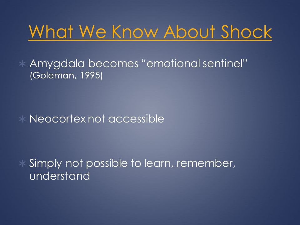 What We Know About Shock Amygdala becomes emotional sentinel (Goleman, 1995) Neocortex not accessible Simply not possible to learn, remember, understa