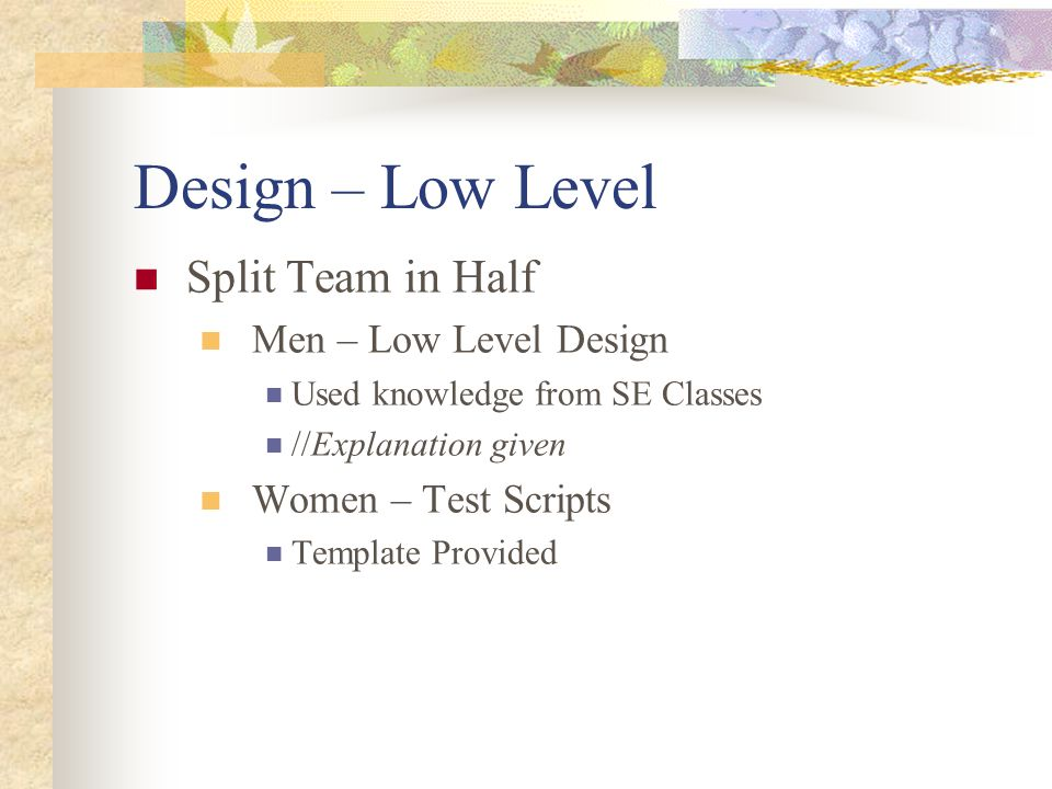 Design – Low Level Split Team in Half Men – Low Level Design Used knowledge from SE Classes //Explanation given Women – Test Scripts Template Provided
