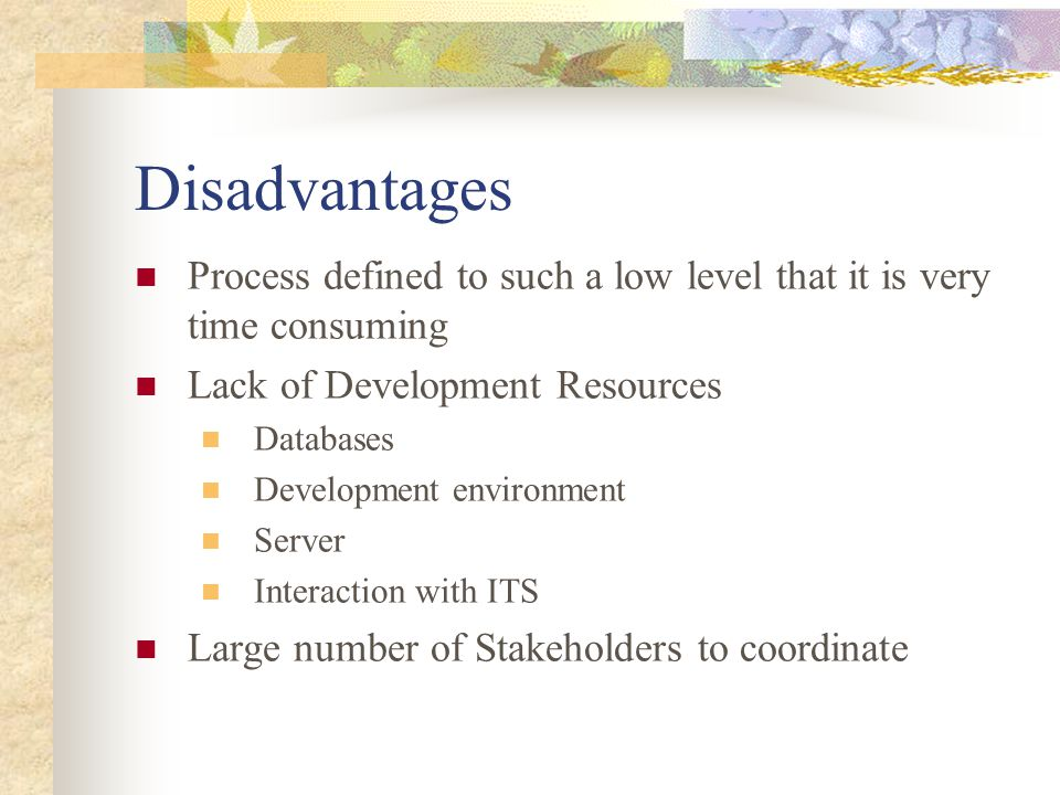 Disadvantages Process defined to such a low level that it is very time consuming Lack of Development Resources Databases Development environment Serve