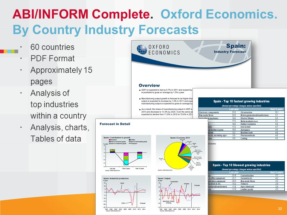 ABI/INFORM Complete. Oxford Economics. By Country Industry Forecasts 60 countries PDF Format Approximately 15 pages Analysis of top industries within