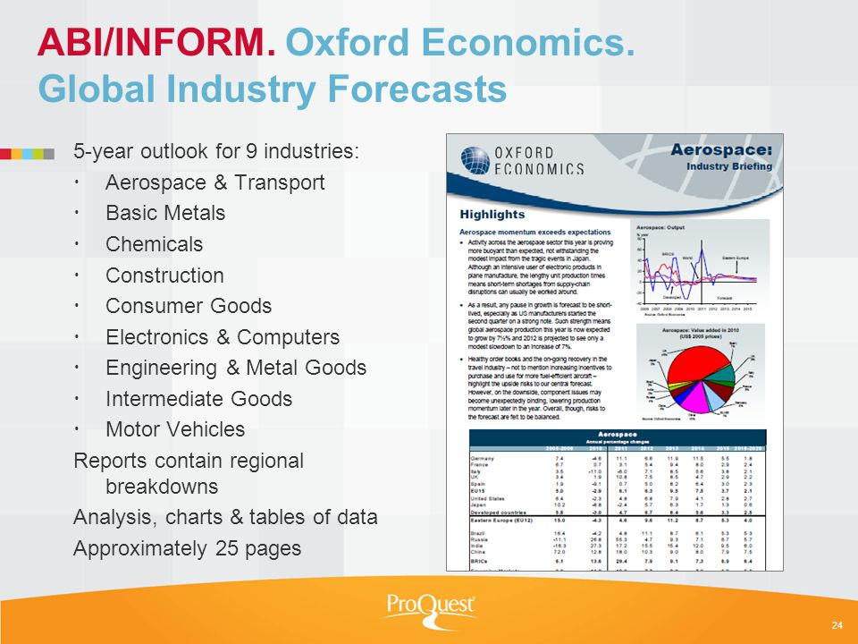 ABI/INFORM. Oxford Economics. Global Industry Forecasts 5-year outlook for 9 industries: Aerospace & Transport Basic Metals Chemicals Construction Con