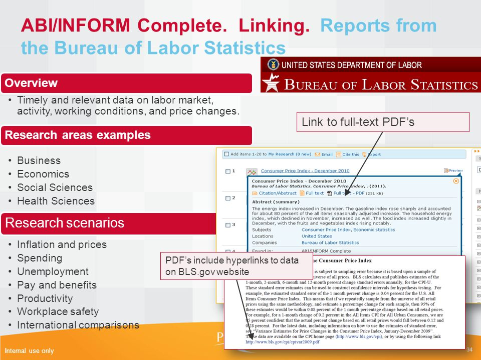 ABI/INFORM Complete. Linking. Reports from the Bureau of Labor Statistics 34 Internal use only Overview Timely and relevant data on labor market, acti