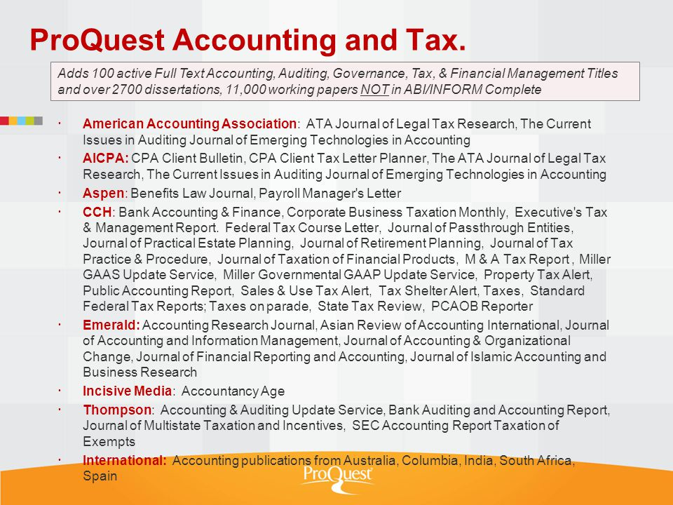 ProQuest Accounting and Tax.