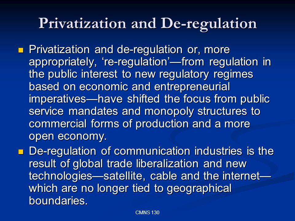 CMNS 130 Privatization and De-regulation Privatization and de-regulation or, more appropriately, re-regulationfrom regulation in the public interest t
