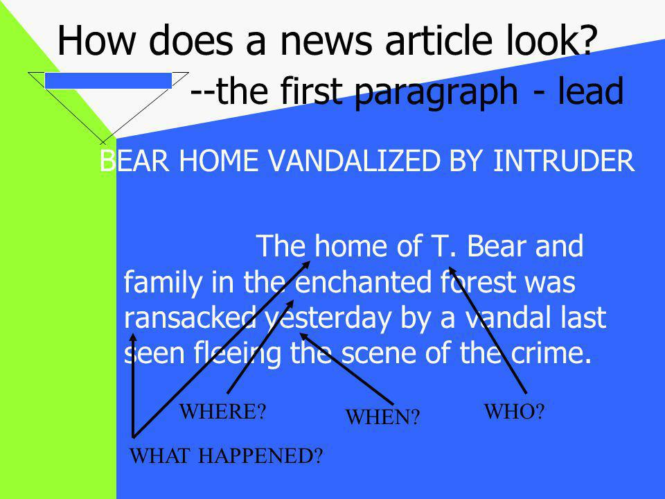 The body of the article -- WWWWWH When the Bear family returned home yesterday morning at 8:30 am, after a family walk, they found their food eaten, furniture destroyed and a stranger sleeping in their home.