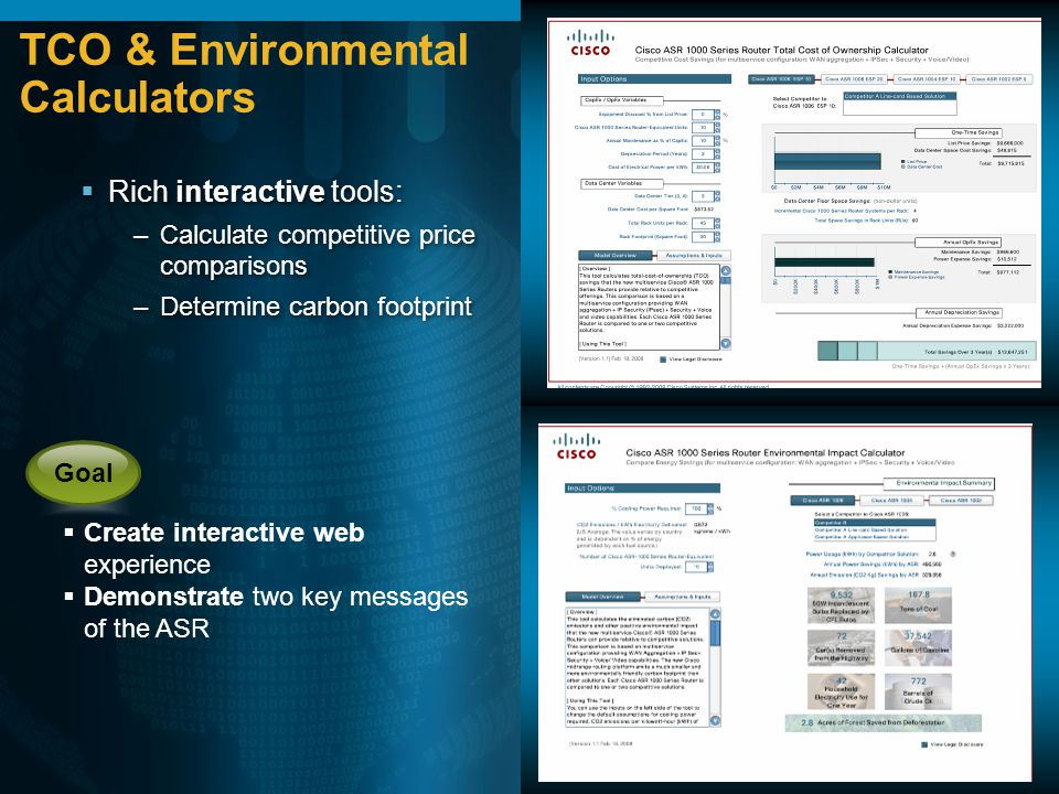 TCO & Environmental Calculators Create interactive web experience Demonstrate two key messages of the ASR Goal Rich interactive tools: –Calculate comp