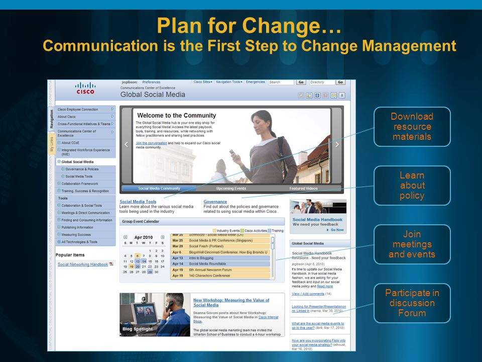 Plan for Change… Communication is the First Step to Change Management Download resource materials Learn about policy Join meetings and events Participate in discussion Forum