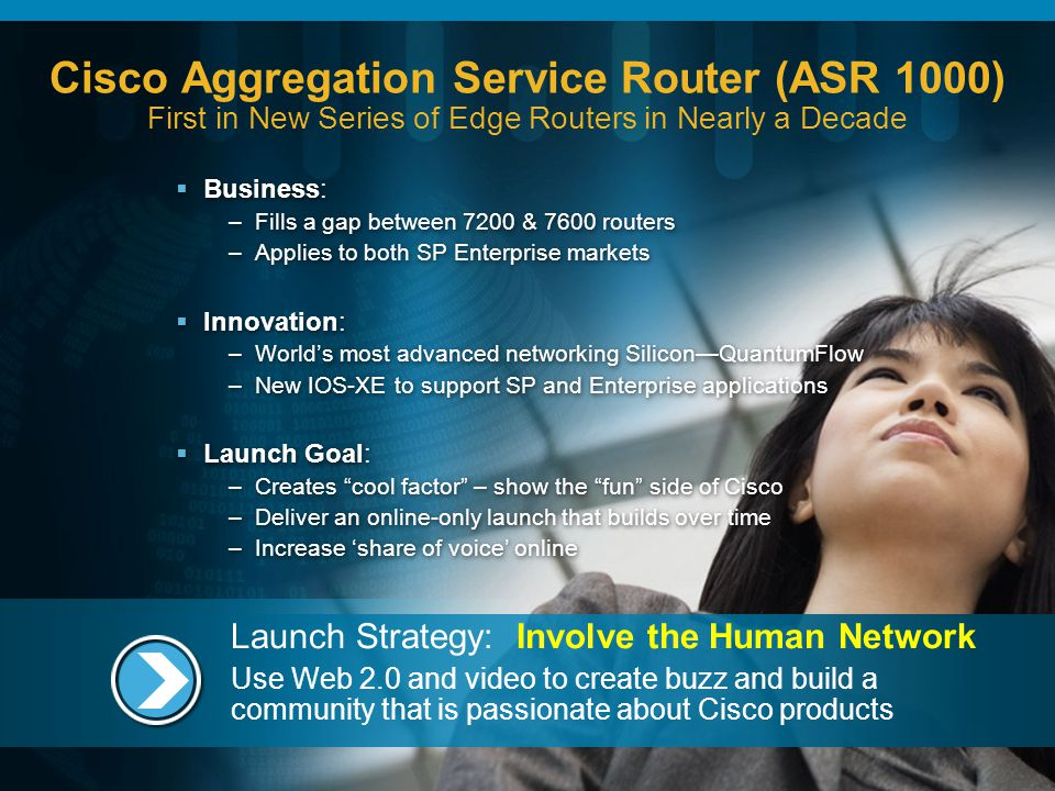 Cisco Aggregation Service Router (ASR 1000) First in New Series of Edge Routers in Nearly a Decade Business: –Fills a gap between 7200 & 7600 routers –Applies to both SP Enterprise markets Innovation: –Worlds most advanced networking SiliconQuantumFlow –New IOS-XE to support SP and Enterprise applications Launch Goal: –Creates cool factor – show the fun side of Cisco –Deliver an online-only launch that builds over time –Increase share of voice online Business: –Fills a gap between 7200 & 7600 routers –Applies to both SP Enterprise markets Innovation: –Worlds most advanced networking SiliconQuantumFlow –New IOS-XE to support SP and Enterprise applications Launch Goal: –Creates cool factor – show the fun side of Cisco –Deliver an online-only launch that builds over time –Increase share of voice online Launch Strategy: Involve the Human Network Use Web 2.0 and video to create buzz and build a community that is passionate about Cisco products