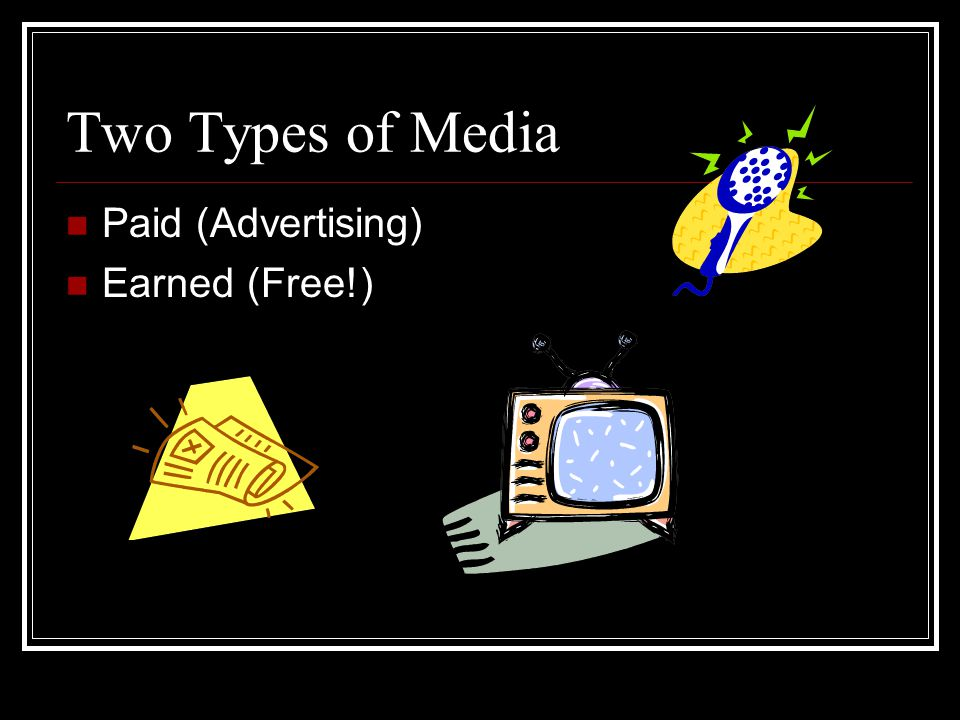 Two Types of Media Paid (Advertising) Earned (Free!)