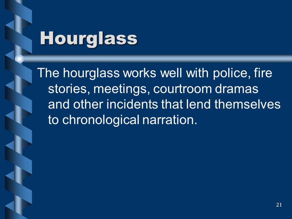 21 Hourglass The hourglass works well with police, fire stories, meetings, courtroom dramas and other incidents that lend themselves to chronological