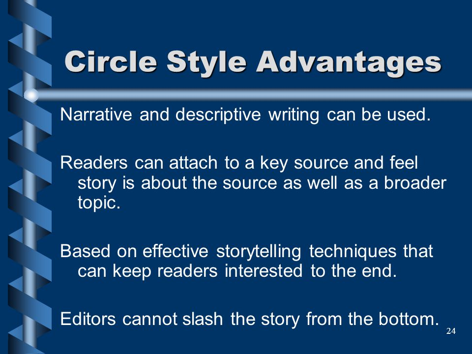 24 Circle Style Advantages Narrative and descriptive writing can be used. Readers can attach to a key source and feel story is about the source as wel