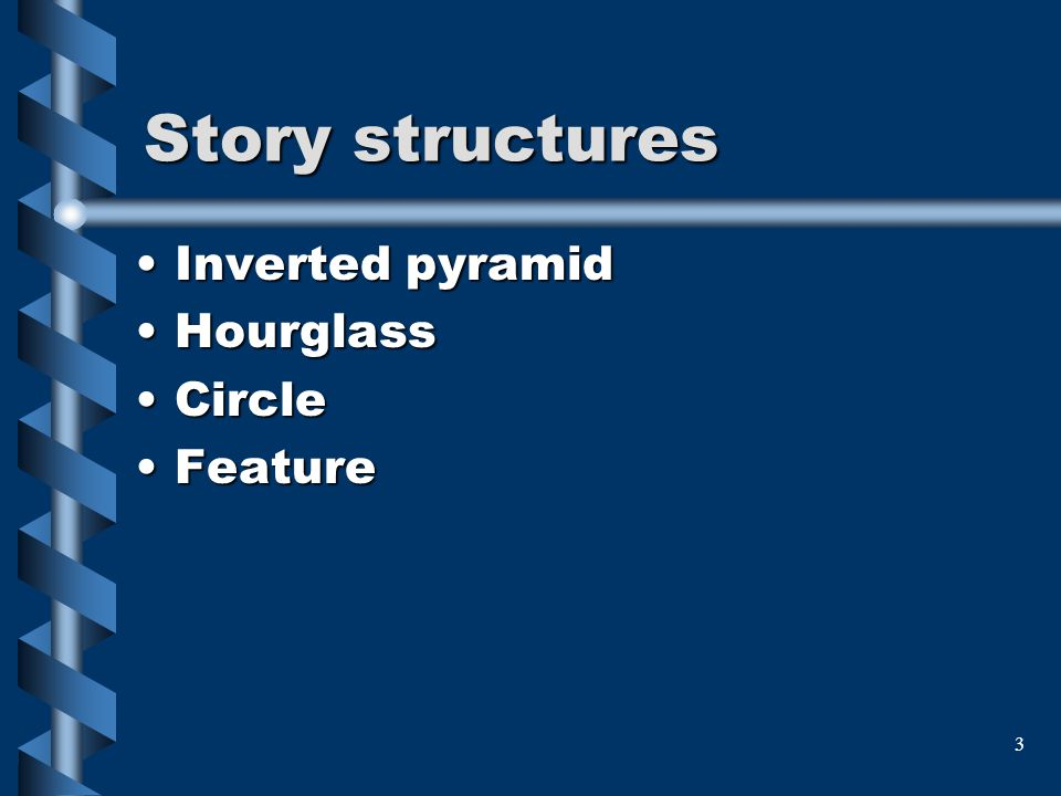 3 Story structures Inverted pyramidInverted pyramid HourglassHourglass CircleCircle FeatureFeature