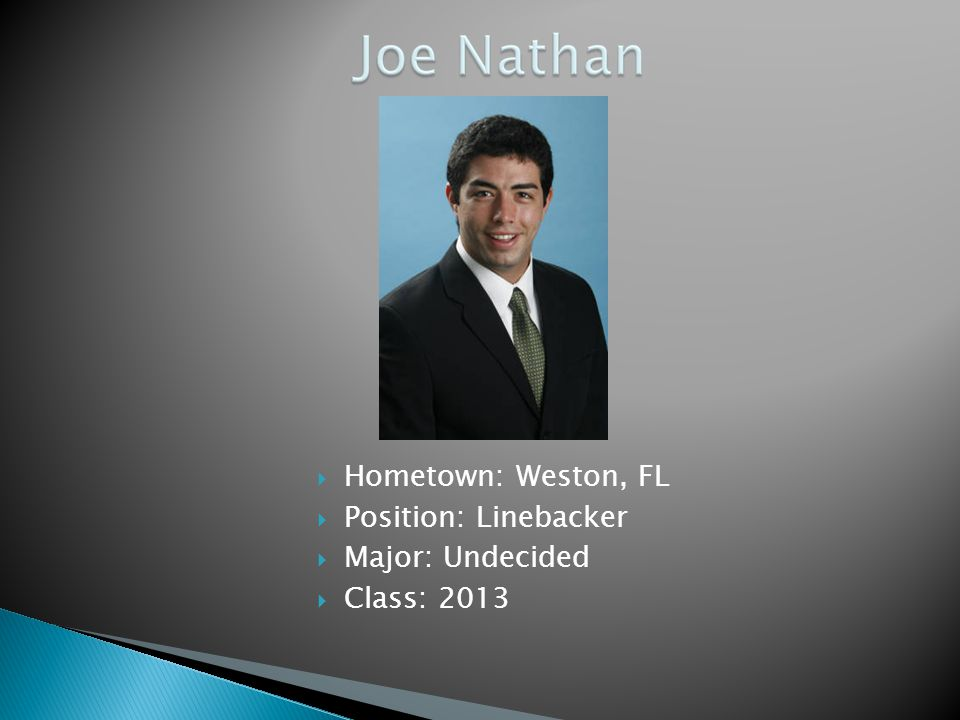 Hometown: Weston, FL Position: Linebacker Major: Undecided Class: 2013