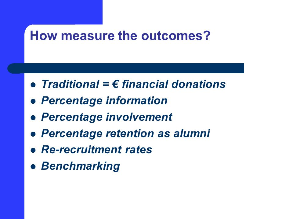 How measure the outcomes.