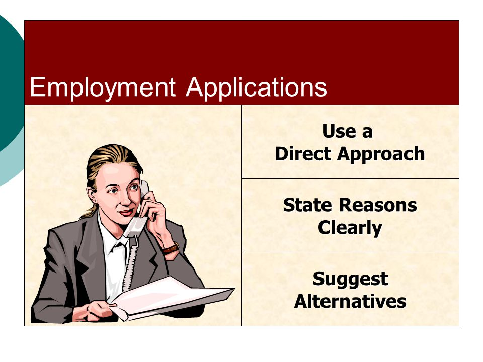 Employment Applications Use a Direct Approach State Reasons Clearly SuggestAlternatives