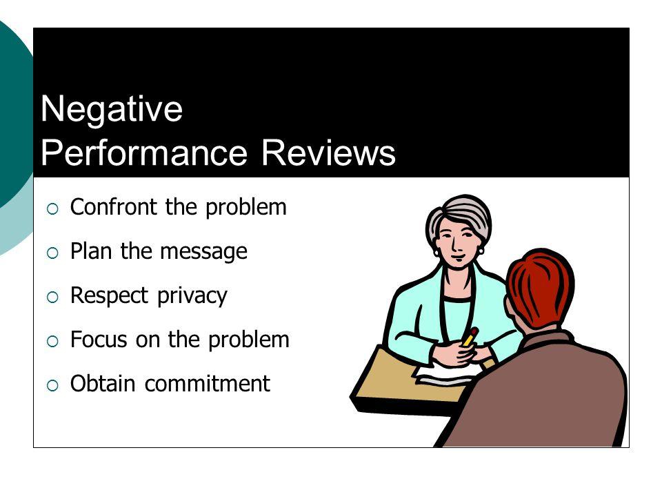 Negative Performance Reviews Confront the problem Plan the message Respect privacy Focus on the problem Obtain commitment