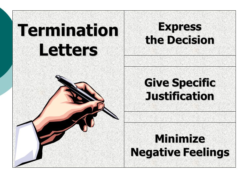 Express the Decision Give Specific Justification Minimize Negative Feelings TerminationLetters