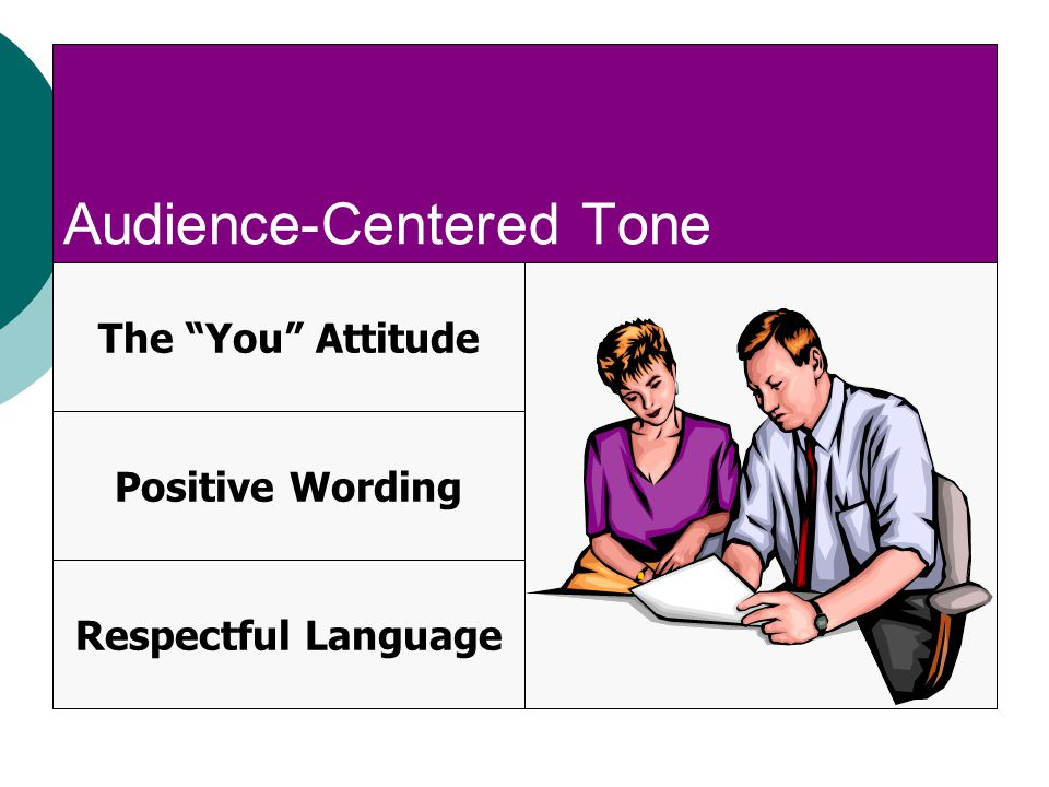 Audience-Centered Tone The You Attitude Positive Wording Respectful Language