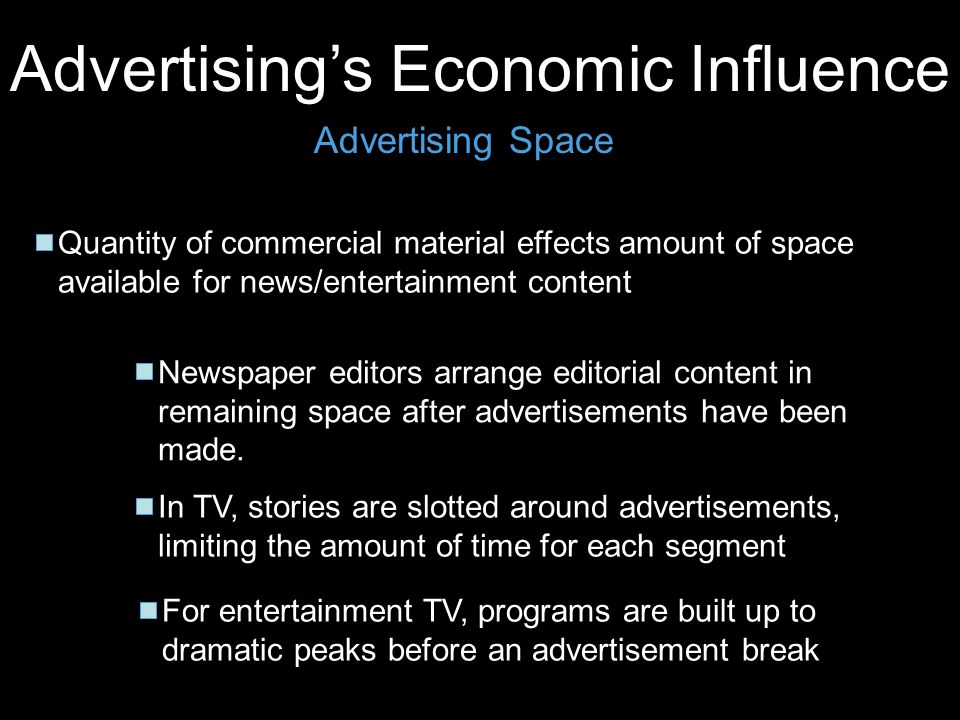 Advertisings Economic Influence Advertising Space Quantity of commercial material effects amount of space available for news/entertainment content New