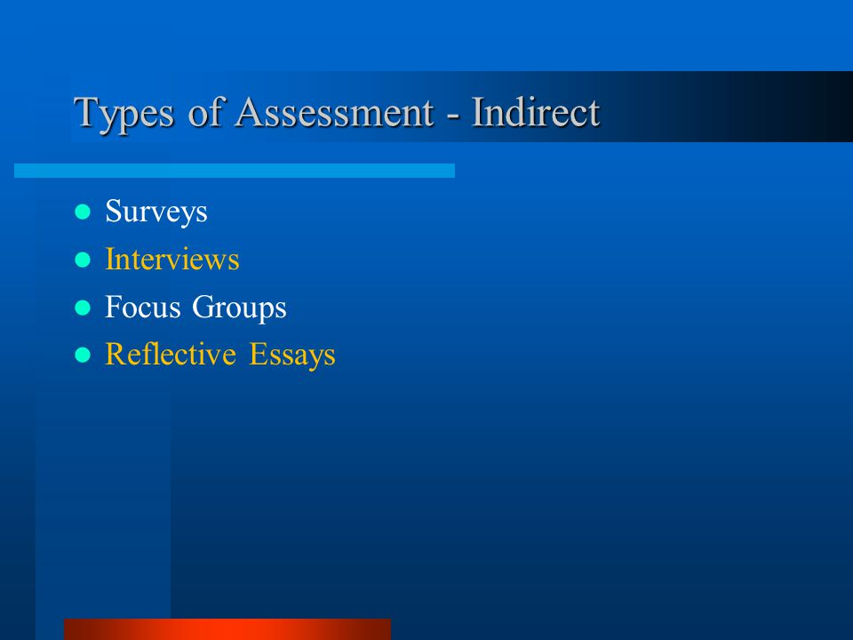 Types of Assessment - Indirect Surveys Interviews Focus Groups Reflective Essays