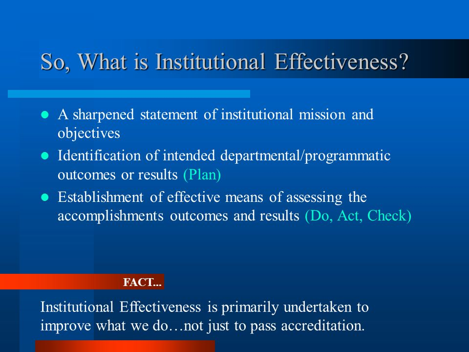 So, What is Institutional Effectiveness.