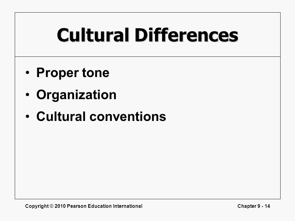 Copyright © 2010 Pearson Education InternationalChapter 9 - 14 Cultural Differences Proper tone Organization Cultural conventions