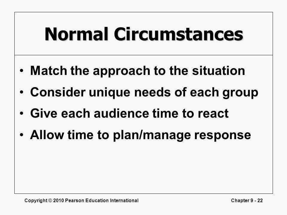 Copyright © 2010 Pearson Education InternationalChapter 9 - 22 Normal Circumstances Match the approach to the situation Consider unique needs of each