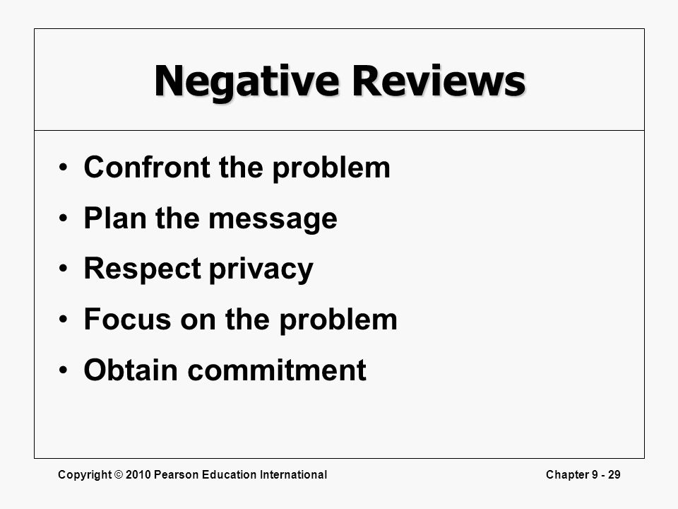 Copyright © 2010 Pearson Education InternationalChapter 9 - 29 Negative Reviews Confront the problem Plan the message Respect privacy Focus on the pro