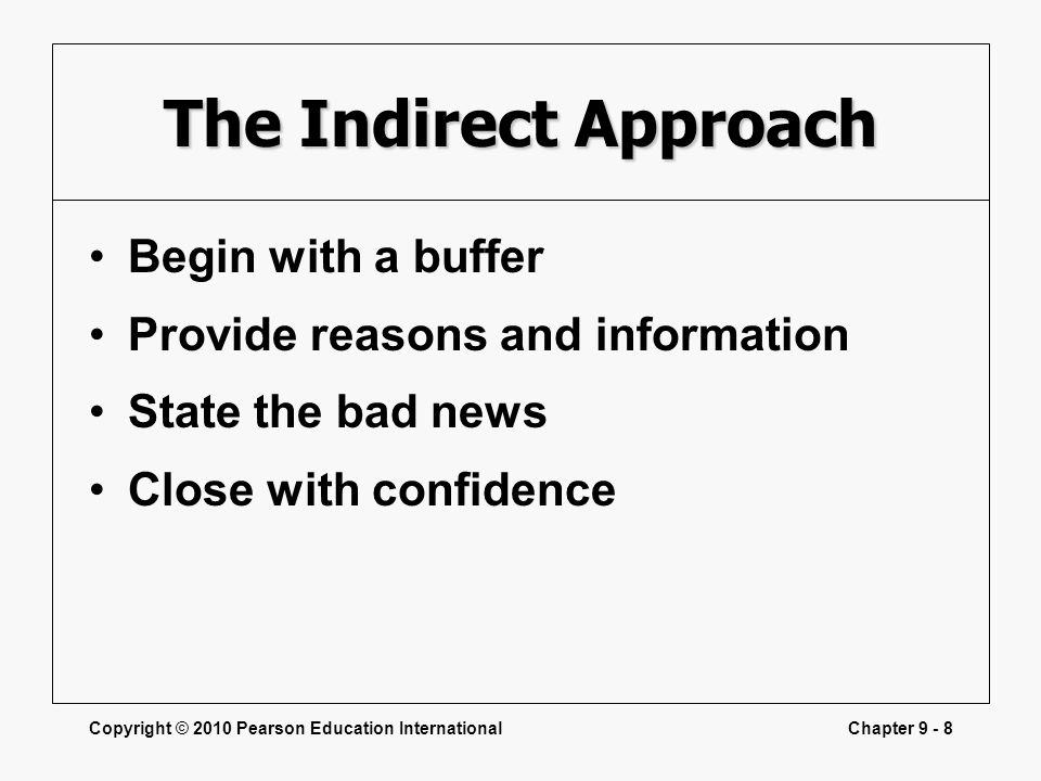 Copyright © 2010 Pearson Education InternationalChapter 9 - 8 The Indirect Approach Begin with a buffer Provide reasons and information State the bad