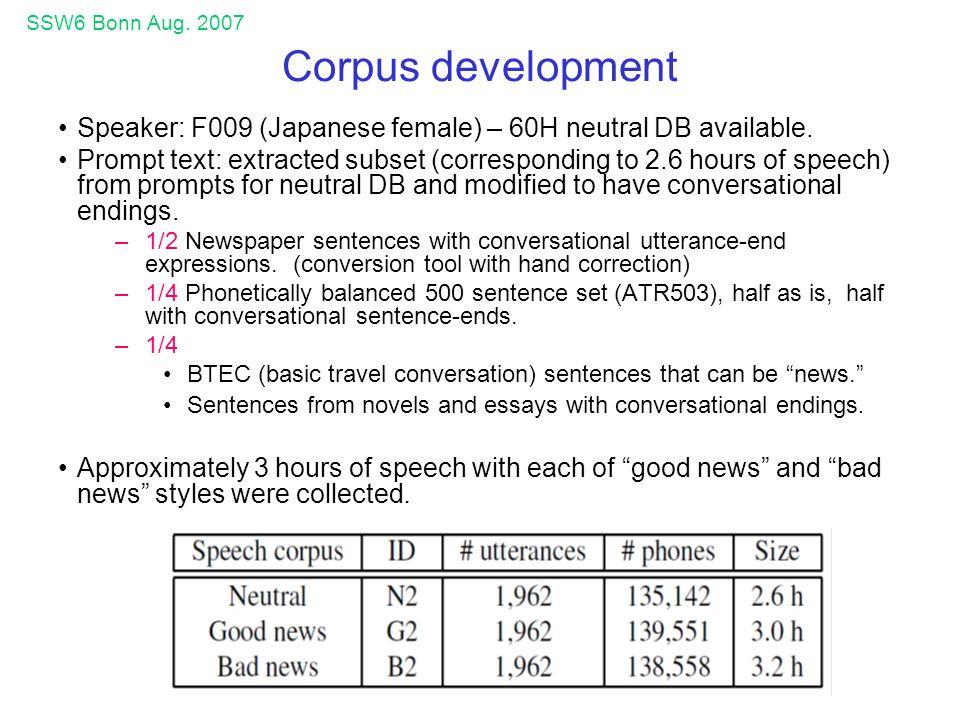 SSW6 Bonn Aug.2007 Corpus development Speaker: F009 (Japanese female) – 60H neutral DB available.