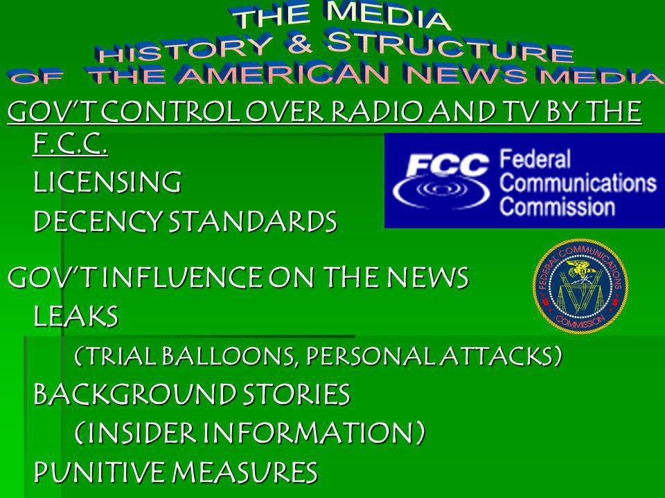 GOVT CONTROL OVER RADIO AND TV BY THE F.C.C. LICENSING DECENCY STANDARDS GOVT INFLUENCE ON THE NEWS LEAKS (TRIAL BALLOONS, PERSONAL ATTACKS) BACKGROUN
