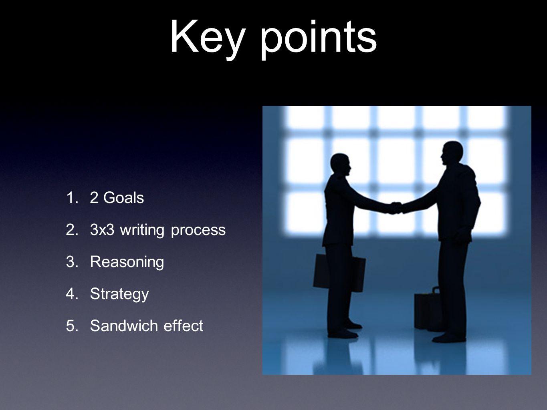 Key points 1. 2 Goals 2. 3x3 writing process 3. Reasoning 4. Strategy 5. Sandwich effect